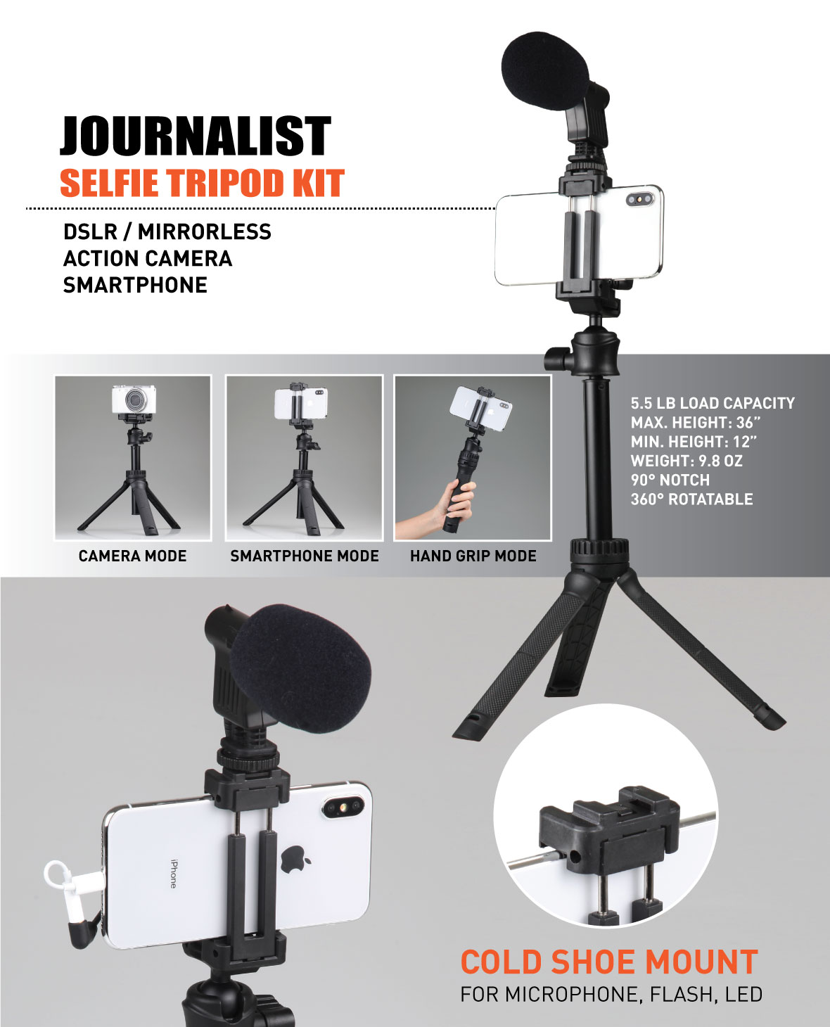 Ztylus Journalist Selfie Tripod Smartphone Stabilizer Rig, Hand Grip, Table Tripod, Rotatable Ball Head, Adjustable Leg, for DSLR Mirrorless Camera, Smartphone, Action Camera
